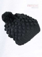 Knitted Beanie with Bobbles and Pompon